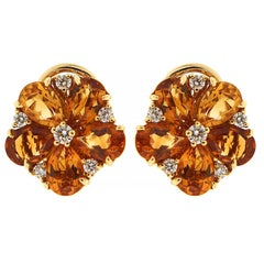 Pear Shape Citrine Cluster Earrings with Diamonds 'Small'