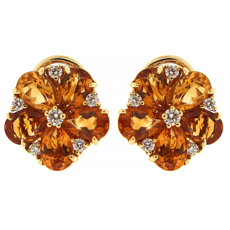 Valentin Magro Pear Shape Citrine Cluster Earrings with Diamonds 'Small'