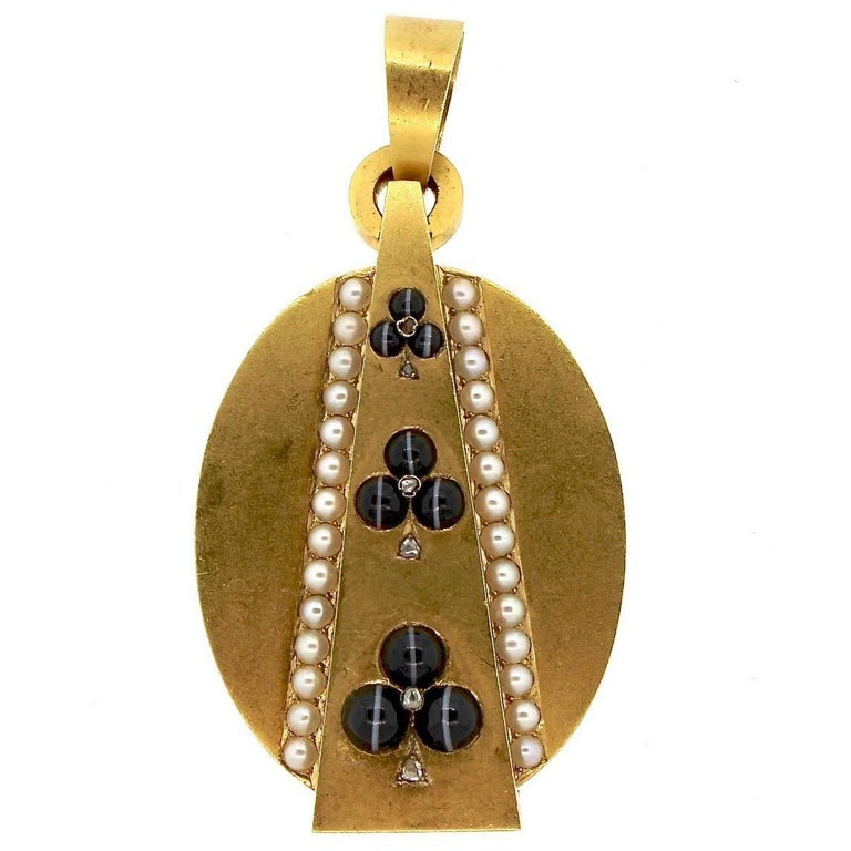 Antique Victorian Gold Agate Pearl Diamond Locket Pendant