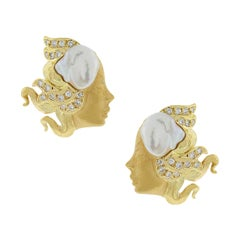 Carrera y Carrera Baroque Pearl Diamond Gold Earrings, GIA