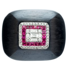 Hedy Martinelli Carbon Fiber Ruby White Diamond Pave Ring
