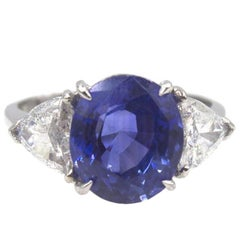 Asprey Natural No Heat 5 Carat Ceylon Sapphire Diamond Platinum Ring