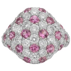 Platinum Pink Sapphire and Diamond Pave Cocktail Ring