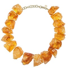 Kara Ross Raw Citrine and Yellow Gold Necklace