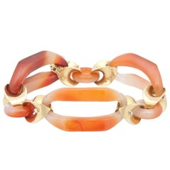 Kara Ross Carnelian and Yellow Gold Link Bracelet