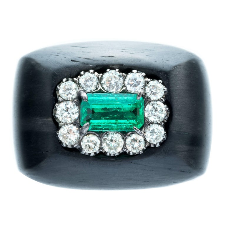 hedy martinelli emerald white pave ring for sale