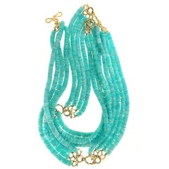 Rare Multi Strand Amazonite Rondelle Necklace