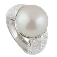 Cartier Pearl and Diamond Ring 2.75 Carat