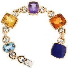 Multi-Color Stone Link Bracelet with Diamond