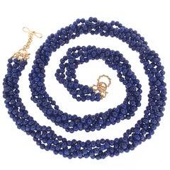 Multi-Strand Round Lapis Lazulli Balls and Gold Necklace