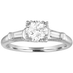 0.74 Carat Round Diamond Platinum Engagement Ring