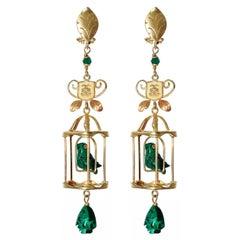 Couleurs de Géraldine Earrings Green Malachite Diamond Gold Birdcage Earrings