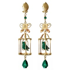 18k Yellow Gold Diamond Emerald Malachite Bird Cage Dangle Drop Earrings