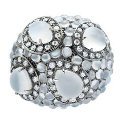 Hedy Martinelli Burnished Gold Moonstone White Diamond Pave Ring
