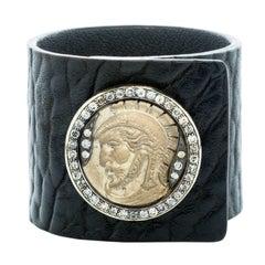 Hedy Martinelli Black Leather Cameo Diamond Cuff Bracelet