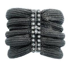 Hedy Martinelli Antique Mesh White Diamond Clasp Cuff Bracelet