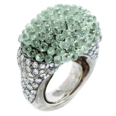 Hedy Martinelli Green Sapphire White Diamond Gold Cocktail Ring