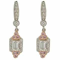 Charles Krypell Diamond and Pink Diamond Platinum Drop Earrings