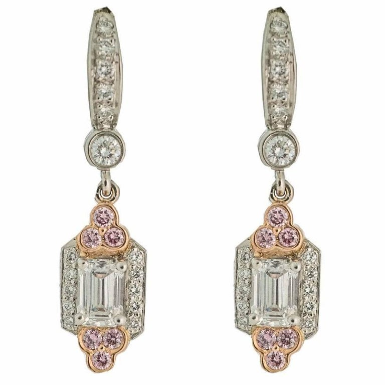 Charles Krypell Diamond, Pink Diamond and Platinum Drop Earrings