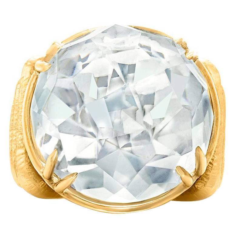 David Webb Rock Crystal and Yellow Gold Cocktail Ring
