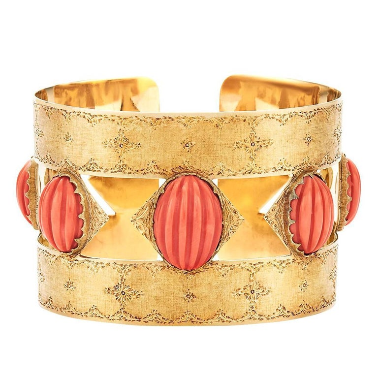Buccellati Yellow Gold and Coral Cuff Bracelet
