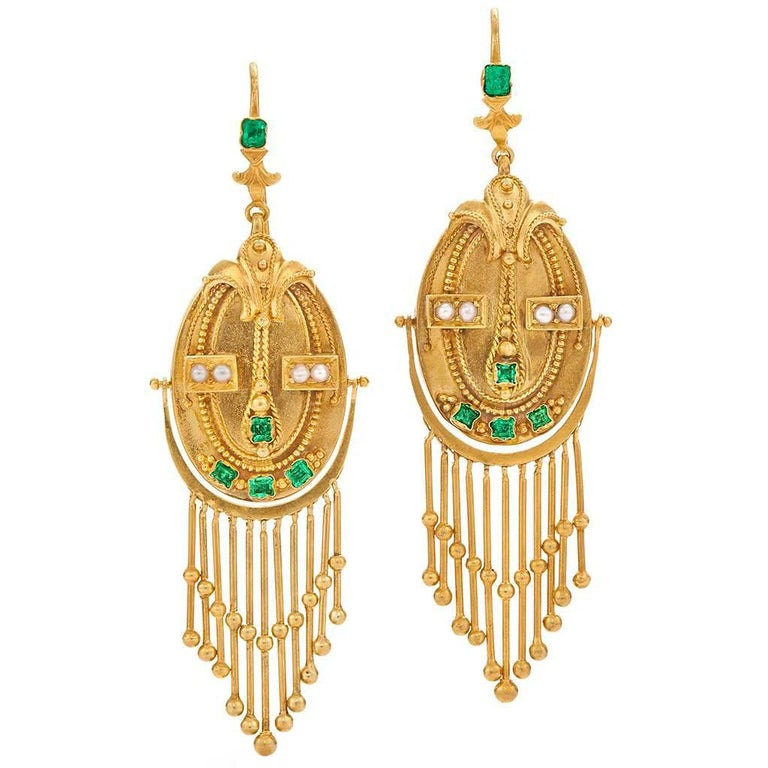 Victorian Yellow Gold and Emerald Fringe Pendant Earrings