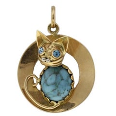 Luise Gold Pendant Embellished with Turquoise