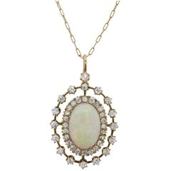 Victorian 3.00 Carat Opal and Diamond Pendant, circa 1900s