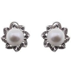 0.43 ct Diamonds, 41.73 ct Australian Pearl White Gold Flower Earrings