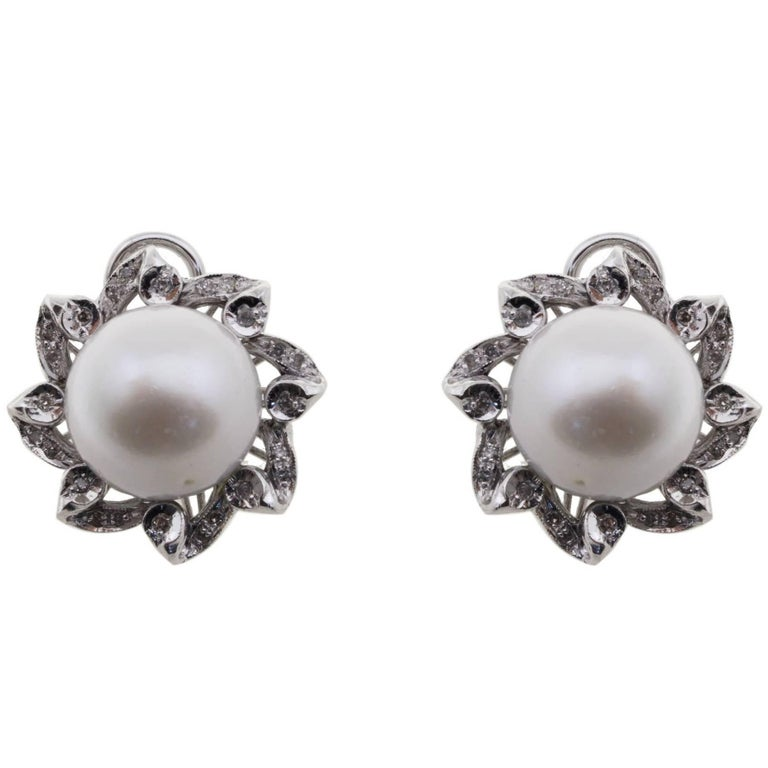 luise classical and australian pearl stud earrings