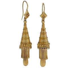 Antique Gothic Revival Gold Earrings