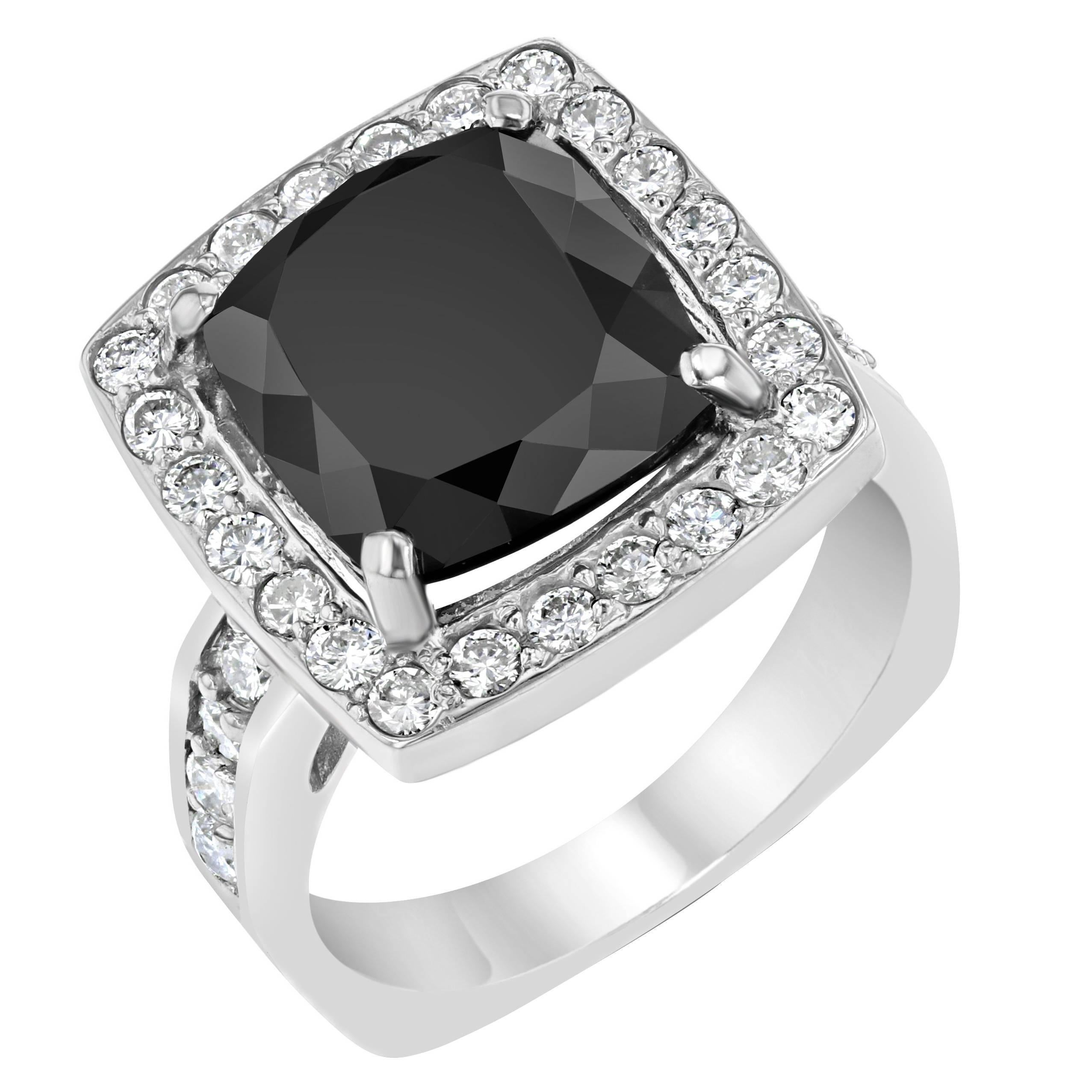 844 Carat Square Cut Black Diamond White Gold Engagement Ring For