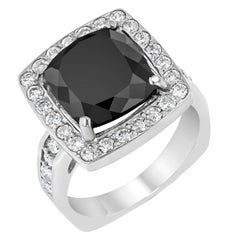 8.44 Carat Square Cut Black Diamond White Gold Engagement Ring