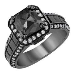 3.48 Carat Black And White Diamond 14 Karat Gold Ring