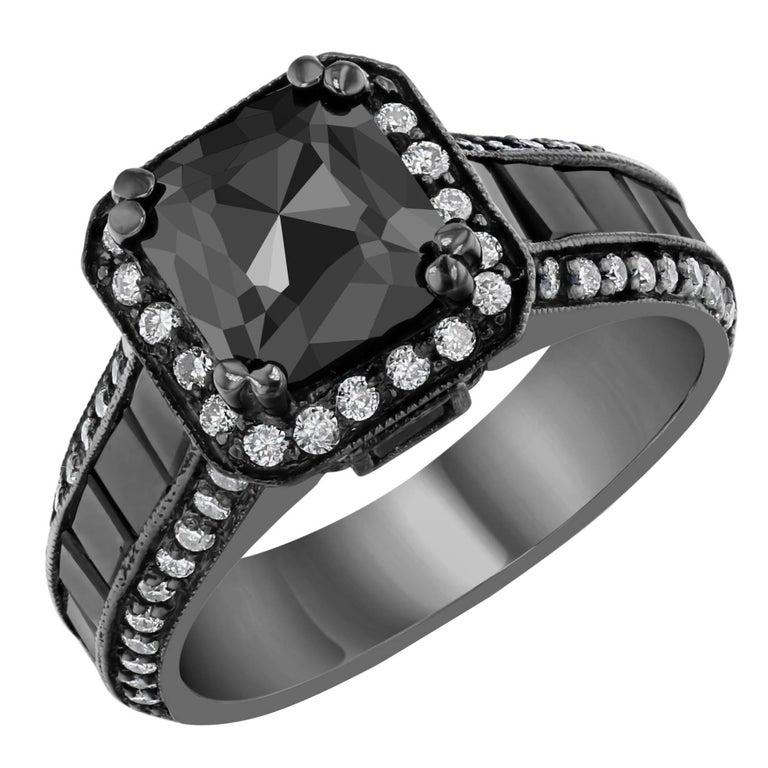 3 48 Carat Black Diamond Ring For Sale at 1stdibs