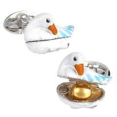 Jan Leslie Golden Egg and Goose Enamel Silver Cufflinks