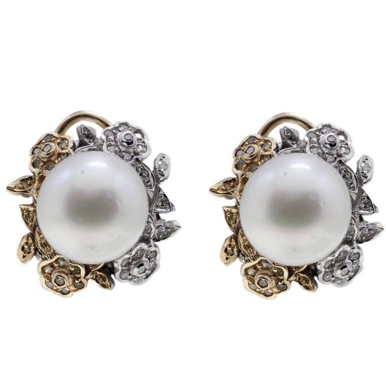 Diamond and Australian Pearl Earrings