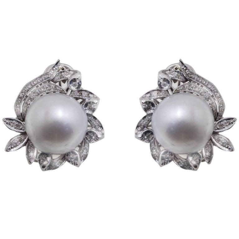 Diamond and Australian Pearl Gold Earrings