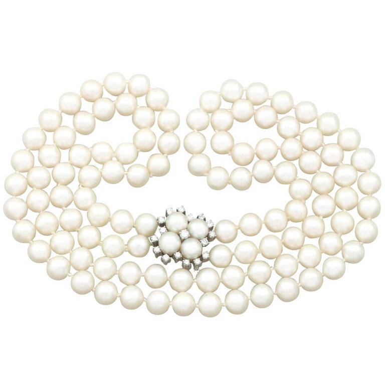 1970s Double Strand Pearl Necklace with Diamond Set Clasp