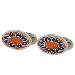 Jan Leslie Orange Purple Enamel Silver English Flower Pattern Cufflinks