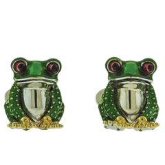 Jan Leslie Frog Enamel Silver Cufflinks