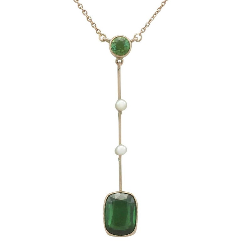 1900s 1.86 Carat Tourmaline and Seed Pearl Yellow Gold Necklace