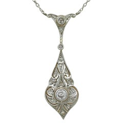 1920s Diamond Yellow Gold Necklace