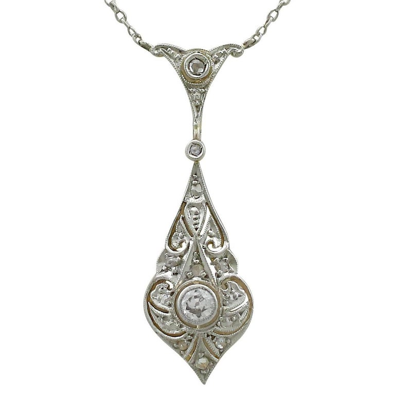 1920s Diamond Yellow Gold Necklace For Sale