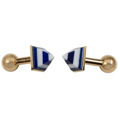 Pyramid Cufflinks in Lapis Lazuli White Agate and Gold
