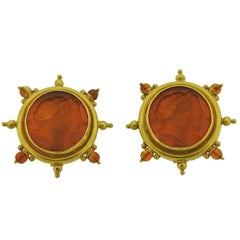 Elizabeth Locke Venetian Glass Intaglio Citrine Gold Earrings
