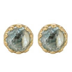 Elegant Sethi Couture Aquamarine Cabochon Stud Earrings