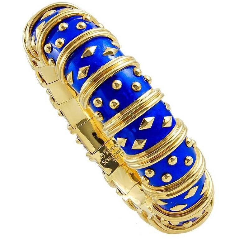 Tiffany & Co. Schlumberger Blue Enamel Bangle Bracelet