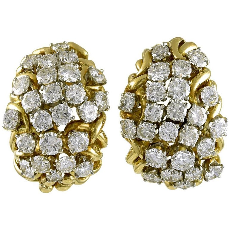 David Webb Two-Tone Diamond Earrings