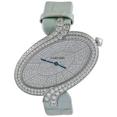 Cartier ladies white gold diamond Délices de Cartier Wristwatch